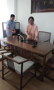 变身记!一个多功能带茶盘茶桌是如何瞬间变成办公桌,书法桌的?#新中式茶桌#茶桌椅#新中式家具#定制家具#