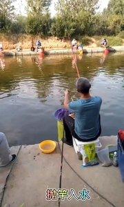 今天放鱼2500斤,鱼票200豆,这位老哥成功上岸,看这姿势多帅。#又嗨又野在玩乐 #黑坑 #钓鱼人