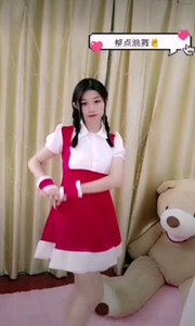 #性感不腻的热舞  @米丝优子 红色背带长裙,麻花辫,有种邻家小妹妹的即视感,清纯可爱俏皮